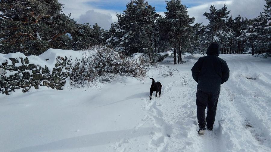 People walking on snow field during winter