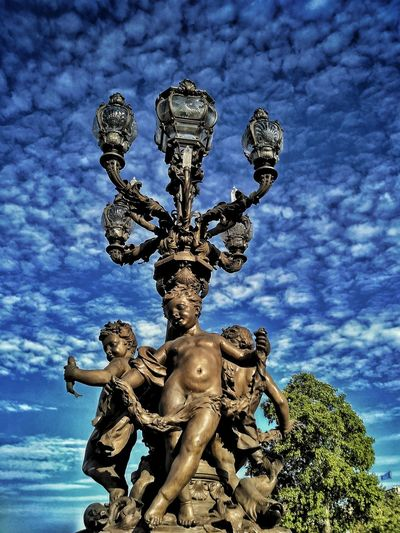 Paris, France  Statue Photography Blue Sky Clouds And Sky