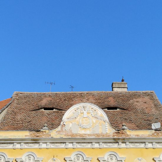 Open your eyes Romania Sibiu Place Of Worship Clear Sky Dome Blue Marble City Clock Face Roof History Tile Roof Tile
