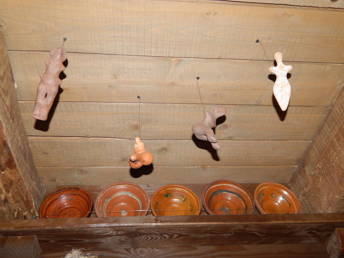 High angle view of birds on wall at home