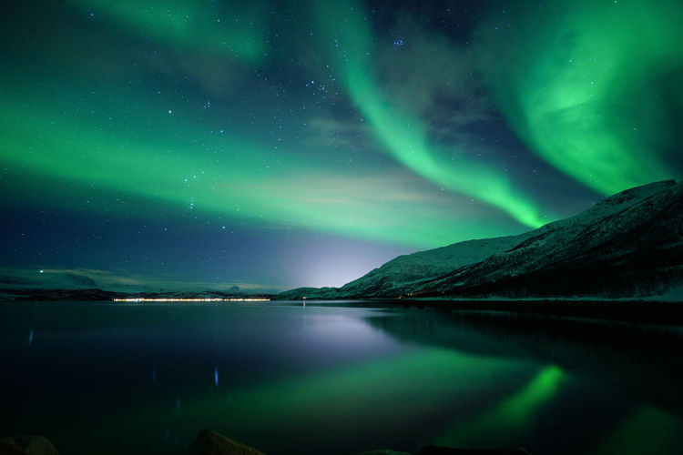 Scenic View Of Aurora Borealis At Night