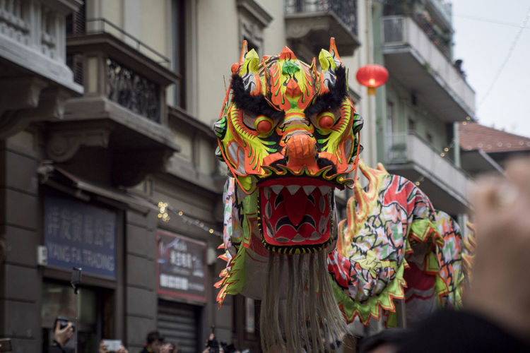 Chinese New Year 2018 Chinese Dragon Dance Celebration Chinatown Milan Chinese Dragon Chinese New Year Cultures Day Dragon Multi Colored Outdoors Performing Arts Event Real People Tradition Traditional Festival