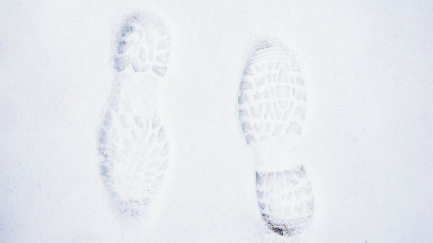 Cold Temperature Frozen Outdoors Shoesprint Snow Weather White Color Winter