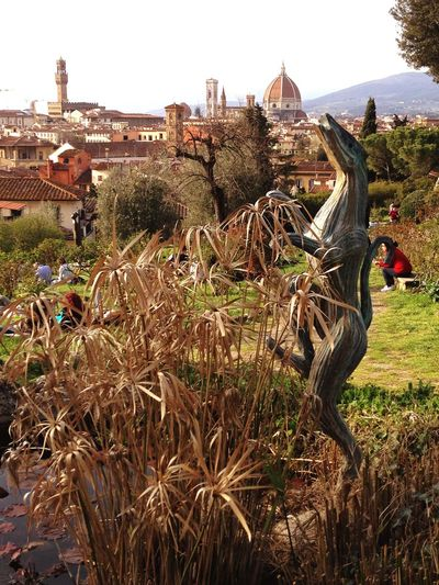 Walking around Florence Landscape Background Florence Italy Statue Folon Contemporary Art Plant Nature Growth Day Field No People