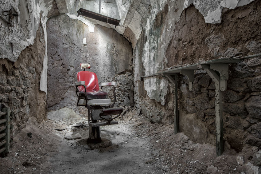 Abandoned Barber Chair Decay Decayed Eastern State Penitentiary Jail Penitentiary Philadelphia Prison Urban Exploration Urbex