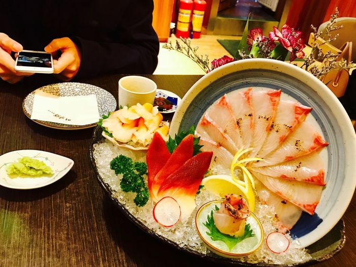 Food And Drink Food Freshness Plate Indoors  Ready-to-eat Table Serving Size Healthy Eating Real People People Day Sashimi  Close-up Appetizer Business Stories An Eye For Travel The Graphic City Love Yourself