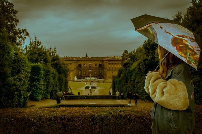 Life imitates Art Tree Sky Building Exterior Built Structure Outdoors Plant Nature Creation Umbrella One Person One Girl Only One Girl Firenze Travel Destinations Palazzo Pitti Vintage Low Angle View Architecture Afternoon Fluffy