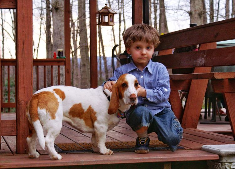 Dog Pets One Animal Animal Themes Domestic Animals One Boy Only Sitting Animal Friendship Children Only One Person Childhood Front View Full Length Casual Clothing Day Boys Portrait Child Boy And Dog