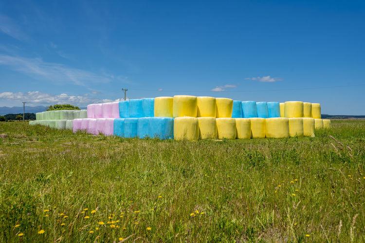 Multi colored umbrellas on field against blue sky