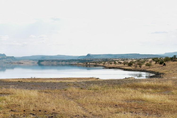 Lake with an arid background, lake magadi, rift valley, kenya