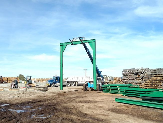Outdoors Sawmill Instalation Millwright Workplace Chip Bin Day Work Industry Fun Machinery Starting Point Sky Industrial Equipment