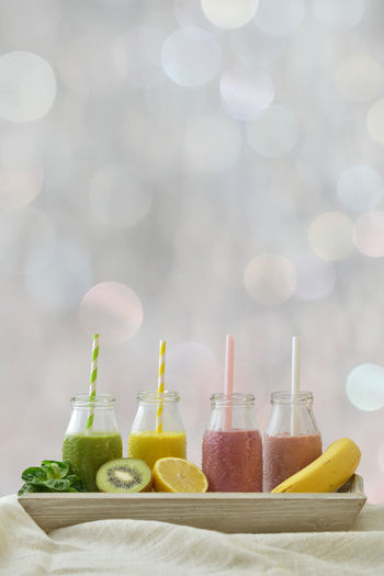 Close-up of smoothies in tray on table