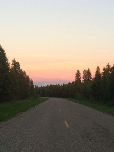 Sunset Nature Scenery Scenics Sky Vivid Color Sunshine Road Trip Road