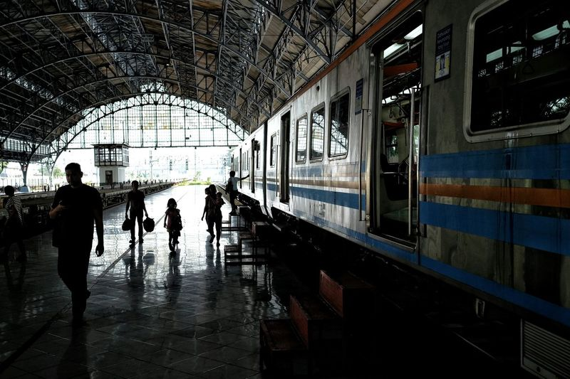 Aloft Train Station Railway Shillouette Architecture People Tanjung Priok Jakarta Indonesia People And Places