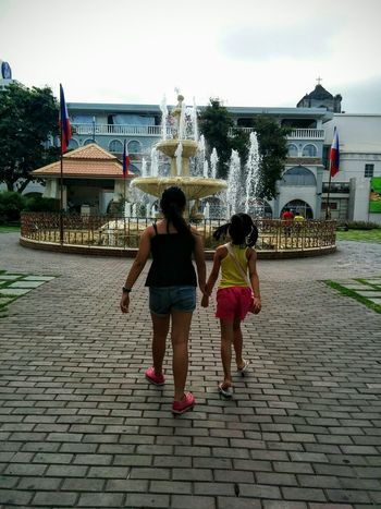 Fountain Casual Clothing Girls Togetherness Outdoors Sisters Laoag City Park