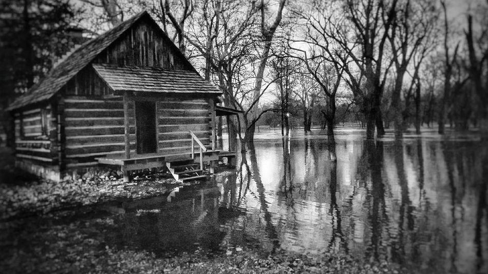 Flooding in Indiana River Reflection Tadaa Community EyeEm Best Shots Flood Flooding Blackandwhite EyeEm Nature Lover Indiana Winamac Tree Built Structure Architecture Day