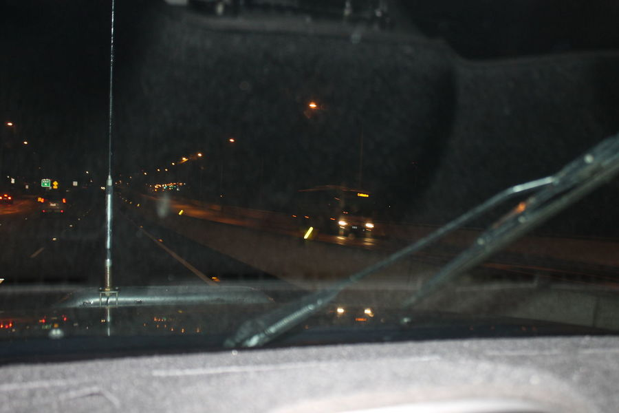 Diving Home At Night Enjoying Night View Eye4photography  Little Traffic Many Trucks Motorway@night On The Move Taking Pictures Through The Front Window In The Car Wet Road
