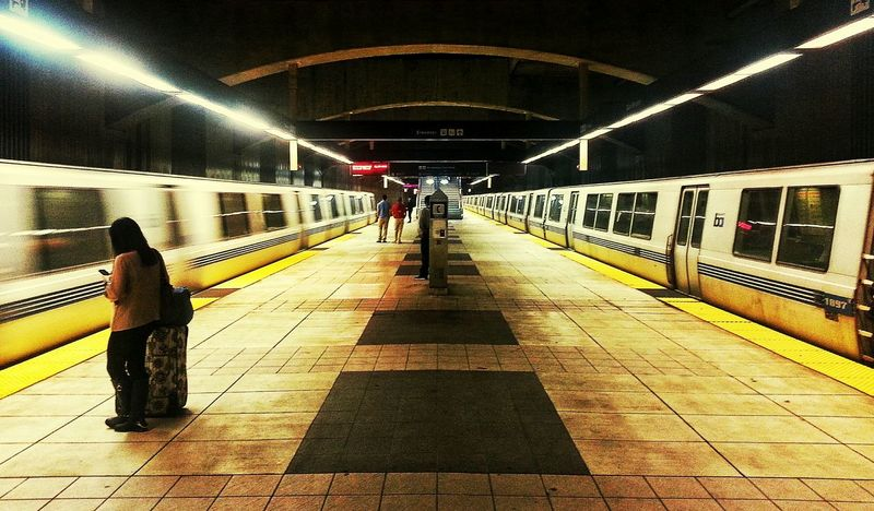 The wait... BART Train Station Public Transportation San Francisco San Bruno Train Motion Blur Snapseed