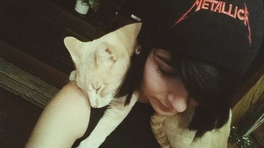 Gato & me. Just that. Cat My Cat Is Cooler Than Your Kids! My Cat Sleeping On Me Adorable Love Animals Metallica Love Black
