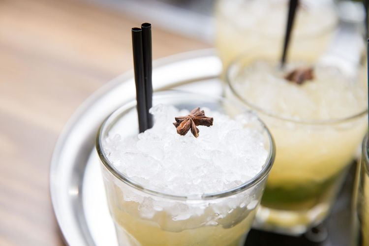 Close-up of cocktails on table