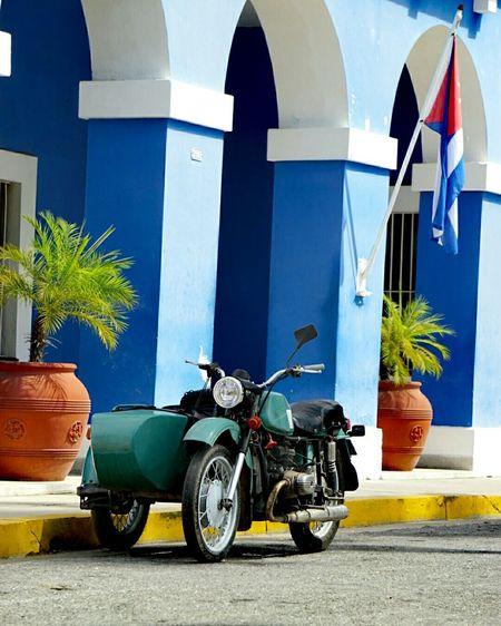 Motorcycle against blue sky