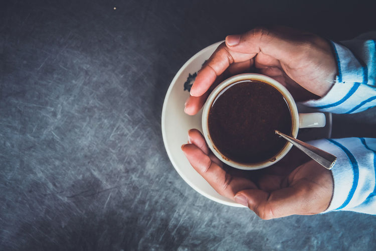 Breakfast Coffee Coffee - Drink Cup Directly Above Drinks English Food Food And Drink Fresh High Angle View Holding Human Body Part Human Hand Lifestyles M Mood Morning One Person Real People Refreshment Saucer Style Tea Traditioinal