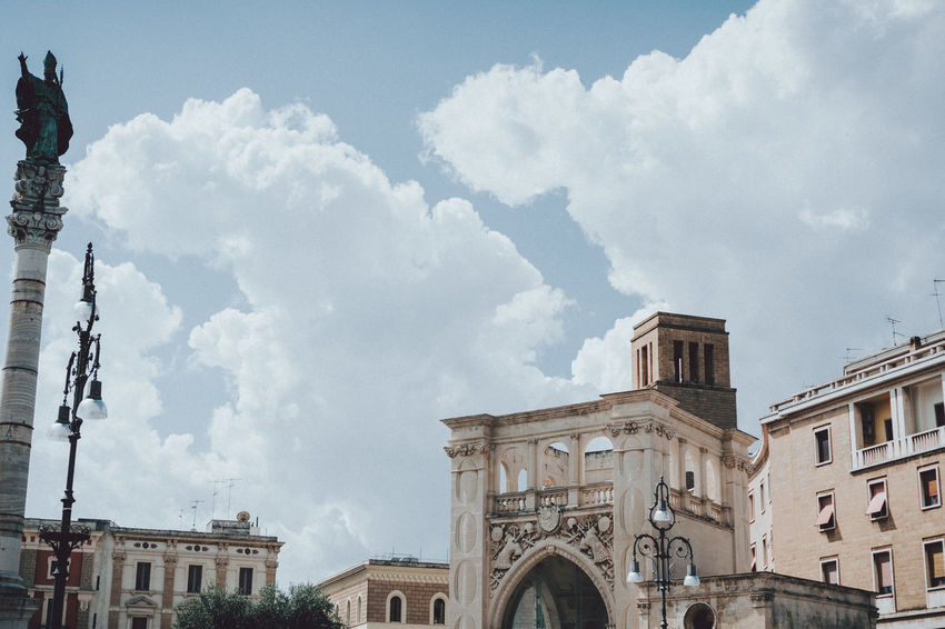 Cloudscape Lecce Travel Architecture Building Exterior Built Structure City Cloud - Sky Clouds And Sky Day Italy Low Angle View No People Outdoors Sky Travel Destinations