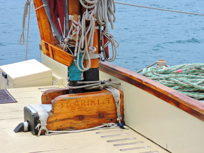 Day Fishing Boat Focus On Foreground High Angle View Metal Mode Of Transportation Moored Nature Nautical Vessel No People Outdoors Post Rope Sea Sunlight Tied Up Transportation Travel Water Wood - Material