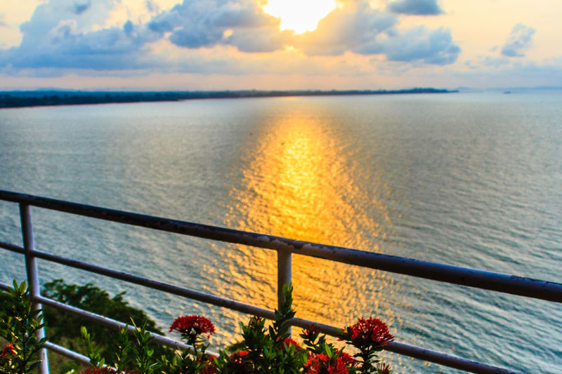 Beautiful sunrise in the morning that sun beams break through the colourful cloud and reflect yellow light of sunshine over the garden on the balcony at the hill top of the luxury residence, Thailand. Balcony View Garden Flowers Hill Top View Hill Tops Villa Morning Morning Light Morning Sun Morning Sky Sunrise Silhouette Balcony Balcony Garden Beauty In Nature Cloud - Sky Day Flower Garden Horizon Over Water Luxury Nature No People Outdoors Railing Reflect Scenics Sea Sky Sun Beam Sun Beam From Cloud Sun Beaming Sunbeam Sunbeams Through Clouds Sunrise Sunrise And Clouds Sunset Sunshine Tranquil Scene Tranquility Water Yellow Light