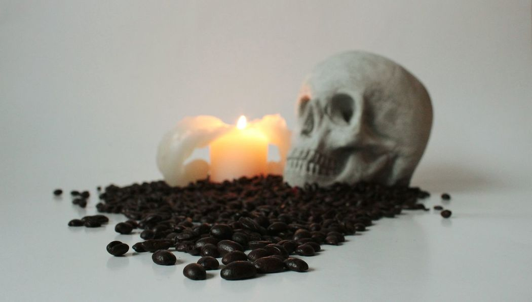 Coffee skull Selective Focus Focus On Foreground Food And Drink Coffee Coffee Time Coffee Break Coffee At Home Coffee Bean Skull Food And Drink Foodie Foodgasm Foodporn Candle Candlelight Candles Indoors  Close-up Studio Shot No People Water Freshness Food Day