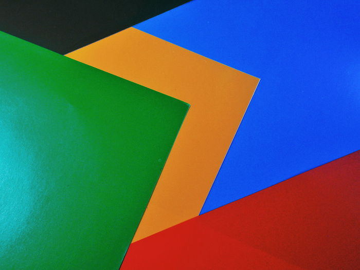 High angle view of multi colored paper