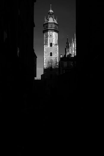 Cracow Poland Kazimierz Architecture B&w Bell Tower Building Exterior Built Structure City Trip Citytrip Cracow Krakow Lighthouse Low Angle View Night No People Outdoors Red Filter Sky Tower Travel Destinations