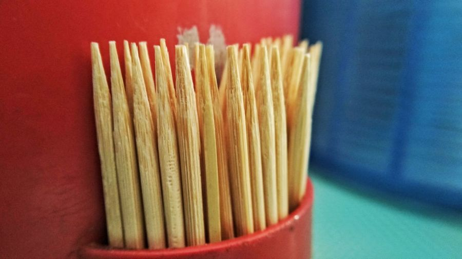 Closeup toothpick in the red box. Choice Close-up Produce Aisle For Sale Desk Organizer Pasta Supermarket Chopsticks Served Noodles Spaghetti Display Prepared Food Shop Stall Retail Display Market Stall Tagliatelle Ravioli Penne