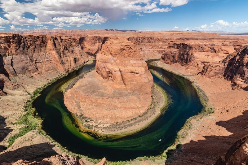 Scenic view of horseshoe bend and colorado river against sky