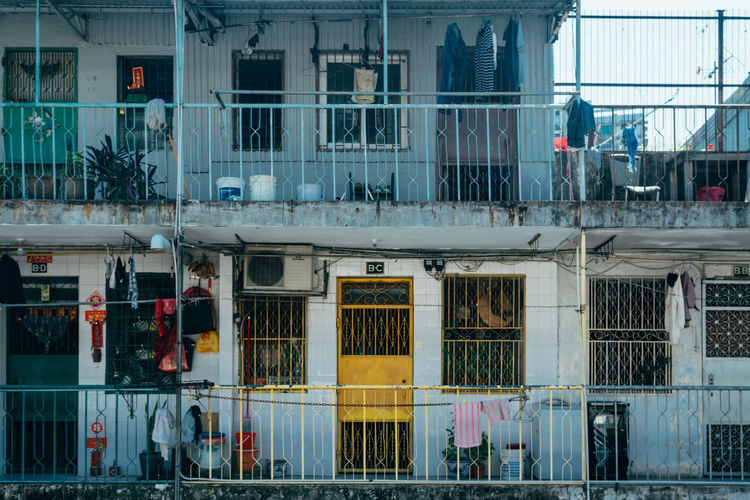 Full Frame Shot Of Old Residential Building In City