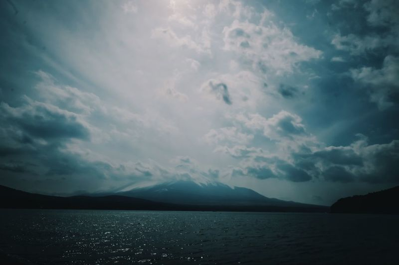Japan Mt.Fuji Cloud - Sky Sky Water Mountain Beauty In Nature Scenics - Nature Tranquil Scene Tranquility Sea Nature No People Mountain Range Waterfront Outdoors Day Non-urban Scene Idyllic Ominous