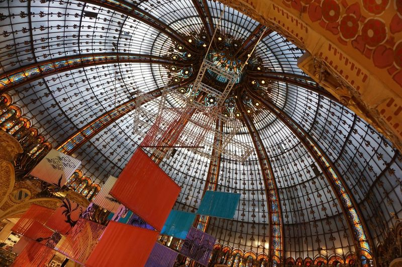 Galleries Lafayette Dome Department Store Paris France Stained Glass Interior