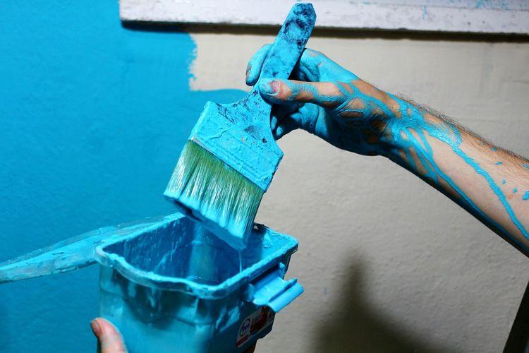 Blue Strength Brushes Wall Color Nice Indoors  Art Mavi Medreseönü Turkey Ordu TURKEY