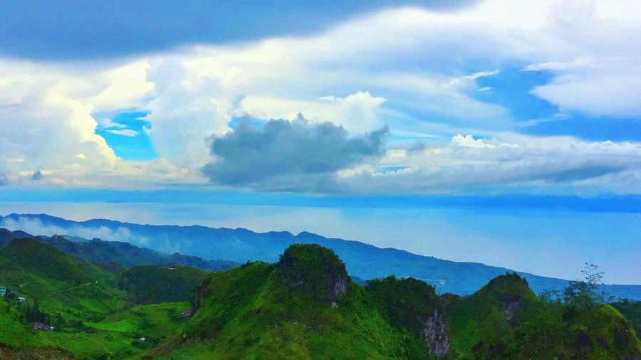 Beauty In Nature Sky Cloud - Sky Nature Scenics Day Outdoors Mountain Landscape Blue Tree Travel Destinations Tourism Scenery Fog Forest Blue Sky Mountain Range Osmeña Peak Cebu City, Philippines