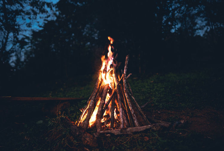 Bonfire on land at night
