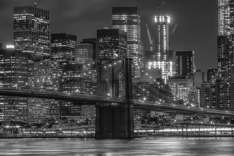 Architecture Black & White Blackandwhite Brooklyn Brooklyn Bridge / New York Building Built Structure Capital Cities  City City Life Cityscape Financial District  Illuminated Manhattan Modern Night No People Outdoors Residential Building Residential District Sky Skyscraper Tall Tall - High Urban Skyline