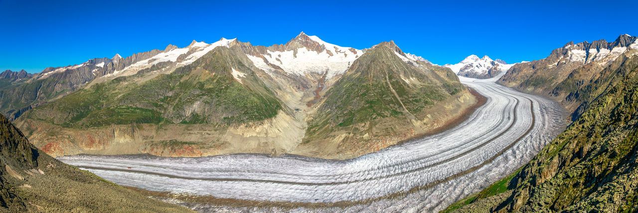 Panoramic view of snowcapped mountains against clear blue sky