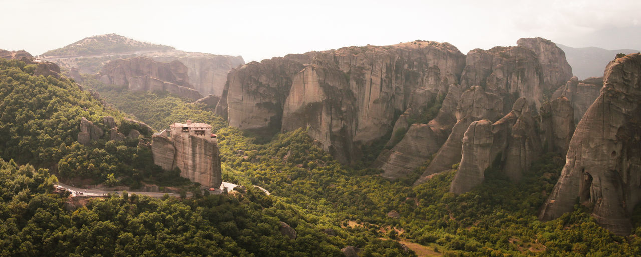 One of the incredible monasteries in Greece, Metéora EyeEmNewHere Meteora Meteora Monasteries Monastery Panorama Panoramic View Religion And Tradition Remote Location Ancient Civilization Beauty In Nature Landscape Mountain Range Outdoors Panoramic Photography Rock Formation Travel Destinations The Great Outdoors - 2018 EyeEm Awards