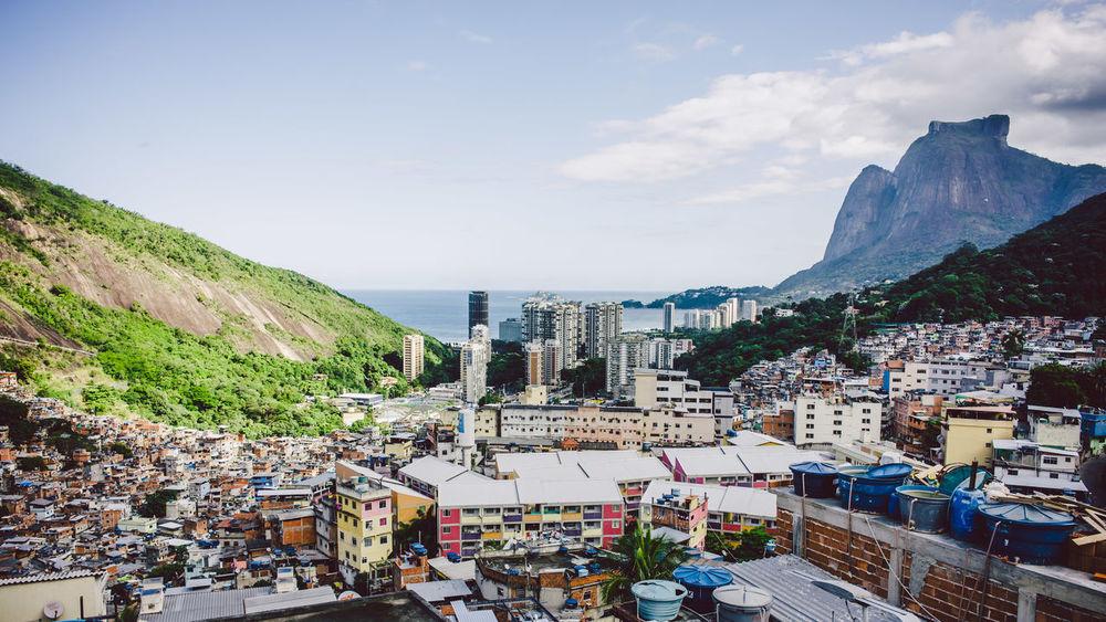 Favela Rocinha in Rio de Janeiro Slum Rio De Janeiro Brazil Rocinha City Cityscape Favela Mountain Outdoors Residential Building Sky Urban Sprawl Human Settlement