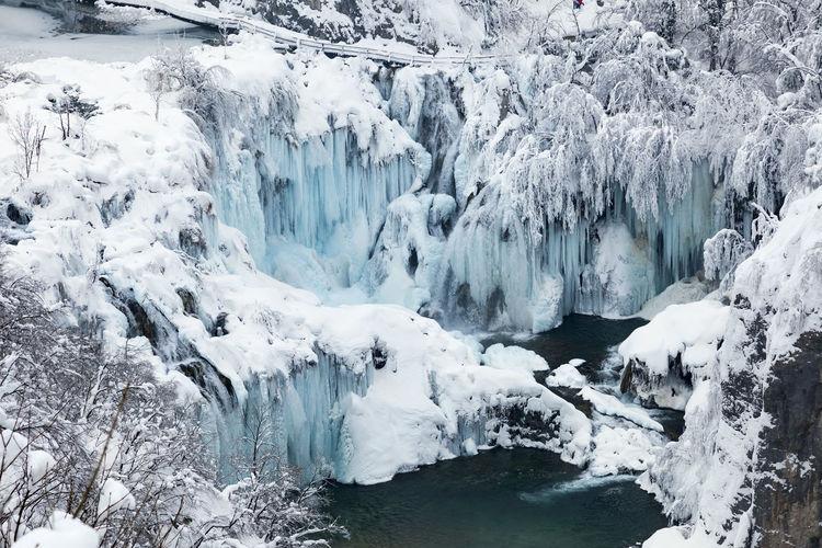 Panoramic view of frozen lake