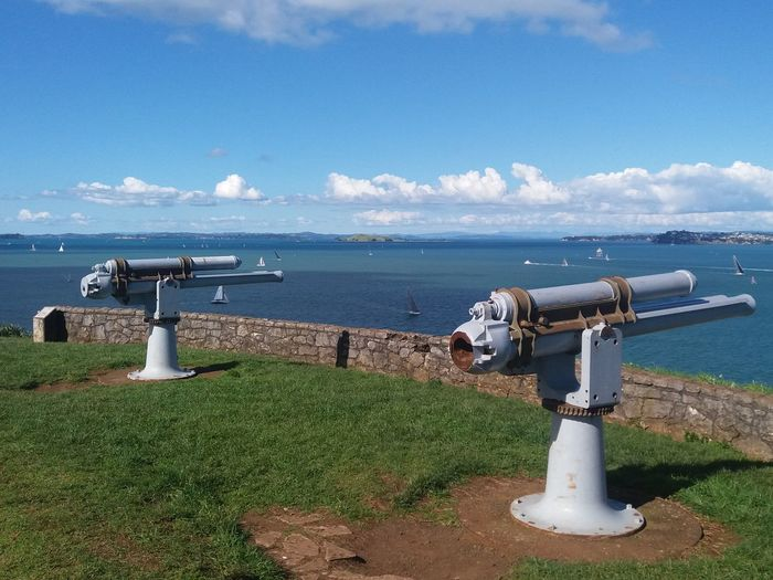 Northead Devonport Guns Coin-operated Binoculars Water Sea Beach Blue Harbor Fire Hydrant Sky Horizon Over Water Grass Cannon Historic Observation Point