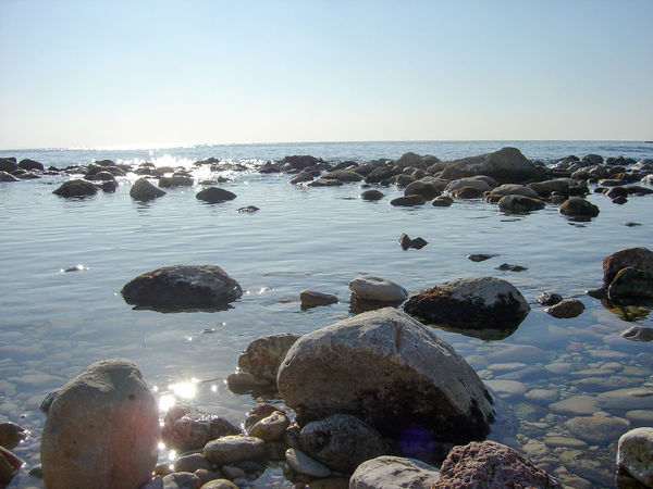 Beach Beauty In Nature Blue Byblos Byblos Sea Byblos,Lebanon Clear Sky Copy Space Horizon Over Water Idyllic Lebanon Nature Pebble Rock Rock - Object Rock Formation Scenics Sea Shore Stone Stone - Object Tranquil Scene Tranquility Water
