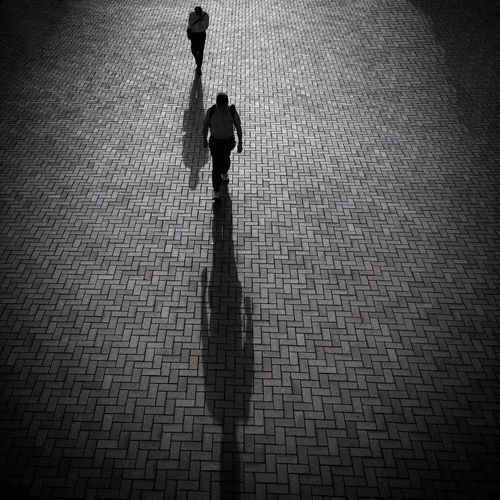 Shadows City Streets  Pedestrians Sidewalk Blackandwhite Streetphotography City Life Early Morning From My Point Of View Street Life City IPhoneography Hong Kong Perspective Going To Work Showcase: November B&w Street Photography IPS2016Street A Bird's Eye View The Art Of Street Photography