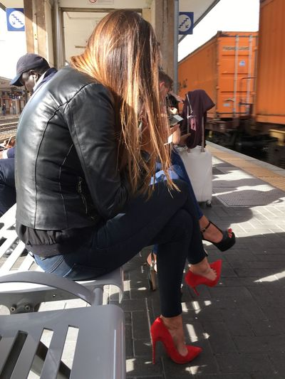 Red splash My Commute Girl Streetphotography Red Fashion Casual Clothing Street Fashion Urban Lifestyle