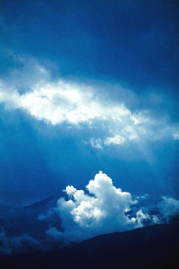 Blue Cloud - Sky Sky Spirituality Scenics Nature Beauty In Nature Rays Of Light Cloud Mountain Rain Clouds